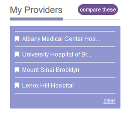 My Bookmarks with multiple hospitals